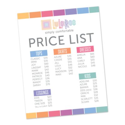 lularoe business instant download printable price list