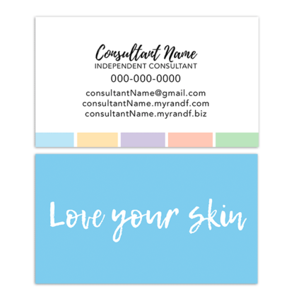 Skin Care Consultant Business Card Love Your Skin ITW Visions - Rodan and fields business card template