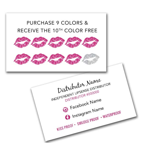 Excellent LipSense Business Card - Punch Card - Loyalty Card • ITW Visions HM32