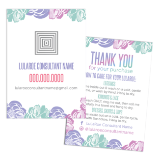 lularoe business card, lularoe thank you card with care instructions, lularoe care instructions