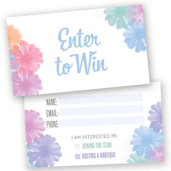 Enter To Win Raffle Card Watercolor Flowers Itw Visions