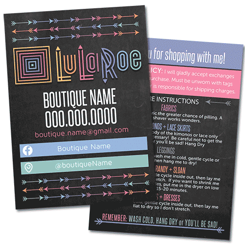 lularoe business, lularoe business card, thank you card with care instructions