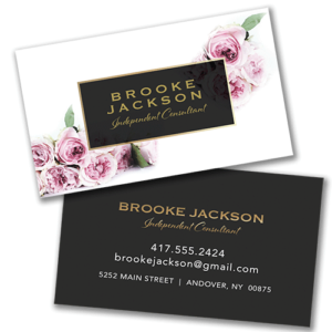business card elegant roses with black and gold