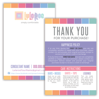 lularoe thank you card, lularoe business card, lularoe care card, lularoe happiness policy card