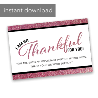 rose gold business thank you card lip sense business, lularoe business, rodan and fields business