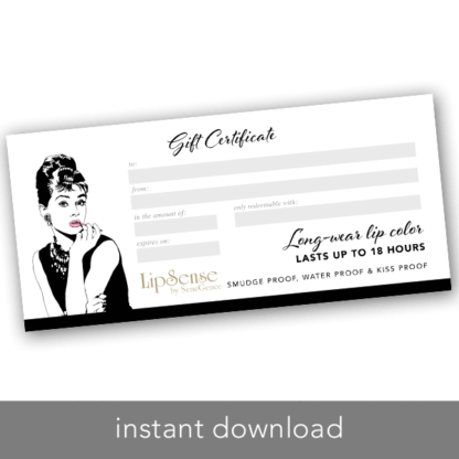 lipsense gift certificate instant download printable