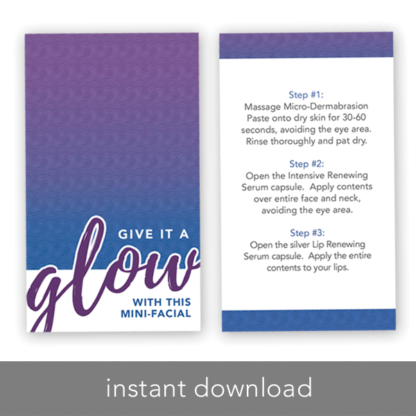 instant download rodan and fields business card, rodan fields glow card, rodan fields mini facial instruction card