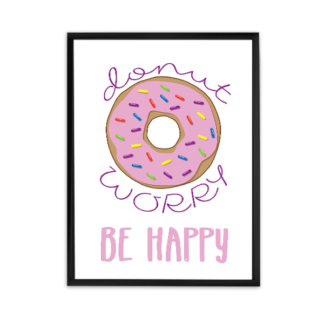 free printable donut lovers, donut worry be happy, donut with pink frosting and sprinkles