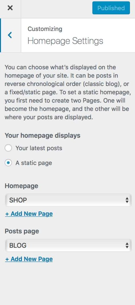 how to set your home page in wordpress
