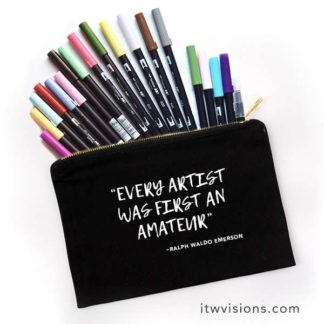 art bag, tombow marker bag, pencil case, Ralph Waldo Emerson quote, art bag, art case