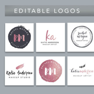 editable logo watermark, branding package