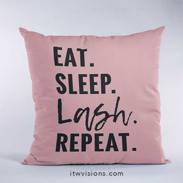 eat sleep lash repeat pillow blush pink, eyelash pillow, rodan fields lash boost