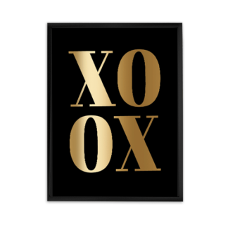 poster xoxo gold foil on black, free printable poster, office wall decor